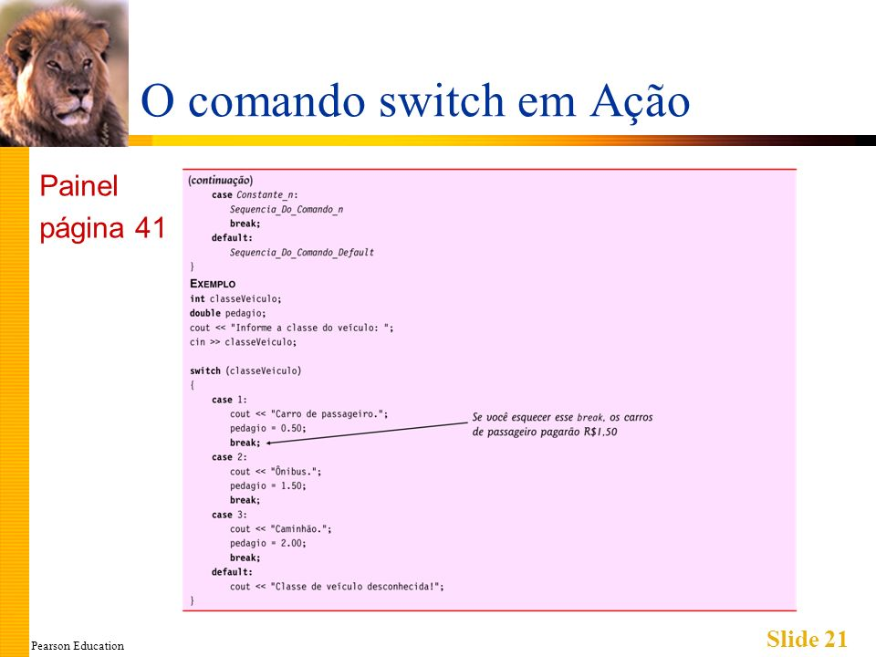 Pearson Education Slide 21 O comando switch em Ação Painel página 41