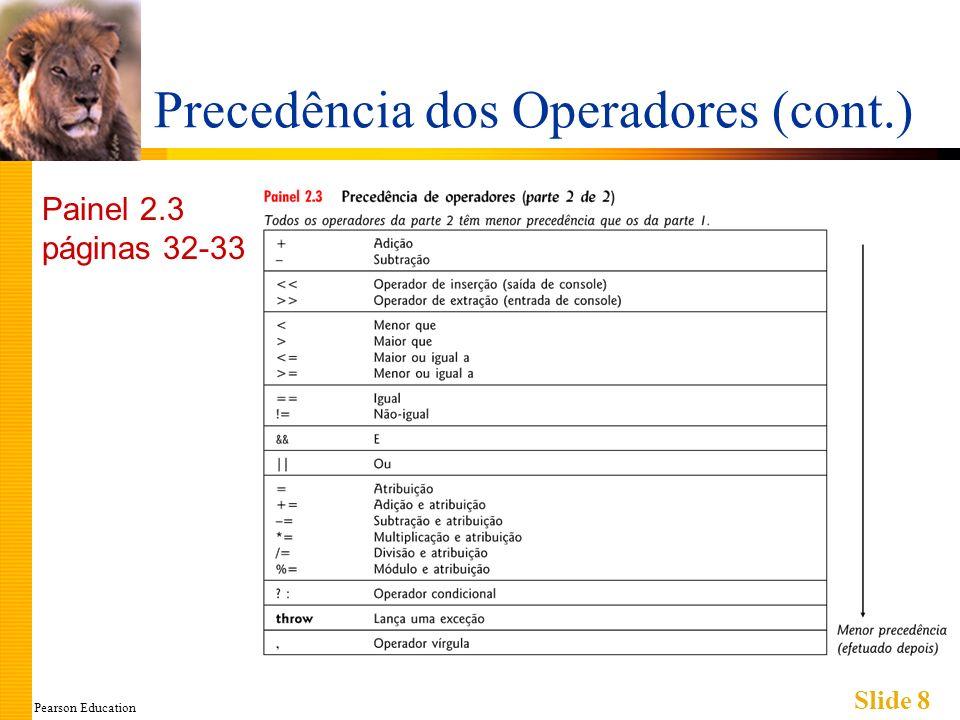 Pearson Education Slide 8 Precedência dos Operadores (cont.) Painel 2.3 páginas 32-33