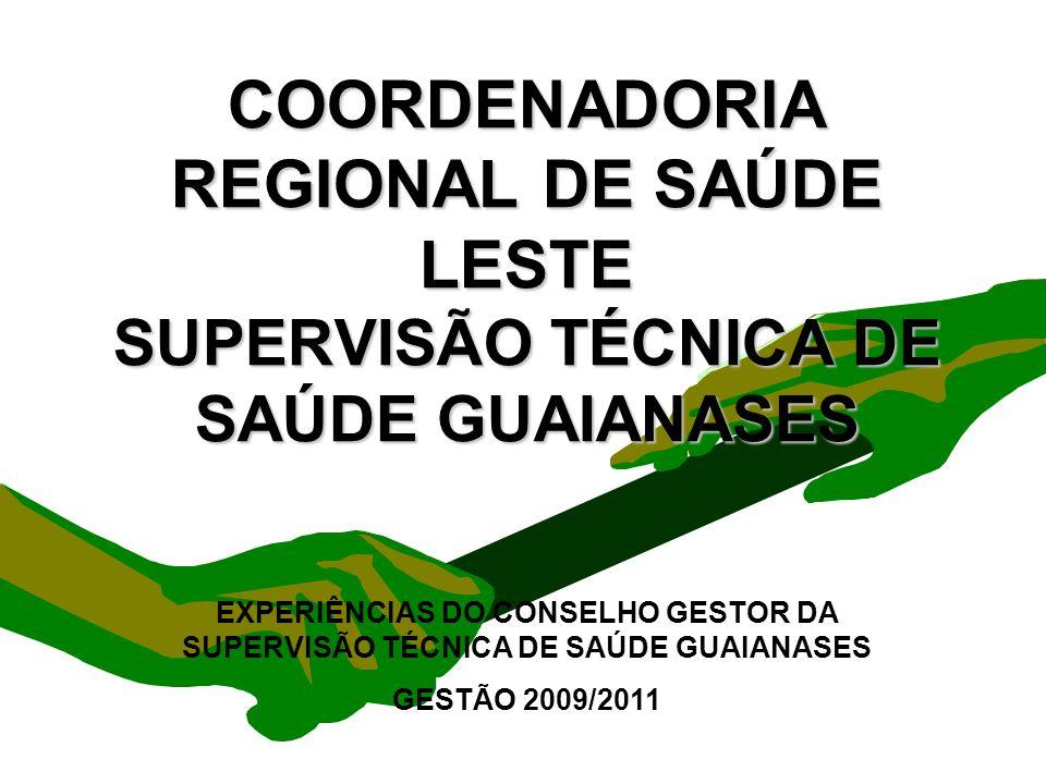 Encontro Municipal de Conselhos Jan/20101 COORDENADORIA REGIONAL DE SAÚDE LESTE SUPERVISÃO TÉCNICA DE SAÚDE GUAIANASES EXPERIÊNCIAS DO CONSELHO GESTOR