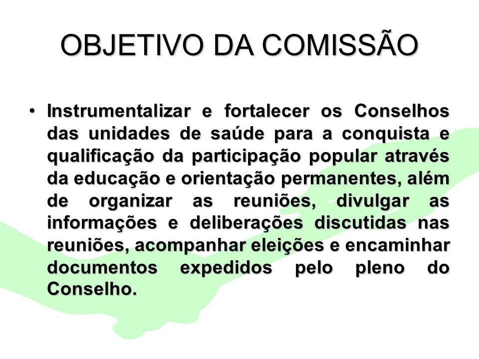 Encontro Municipal de Conselhos Jan/201010 OBJETIVO DA COMISSÃO Instrumentalizar e fortalecer os Conselhos das unidades de saúde para a conquista e qu