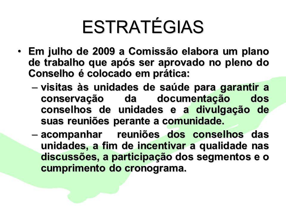 Encontro Municipal de Conselhos Jan/201014 ESTRATÉGIAS Em julho de 2009 a Comissão elabora um plano de trabalho que após ser aprovado no pleno do Cons