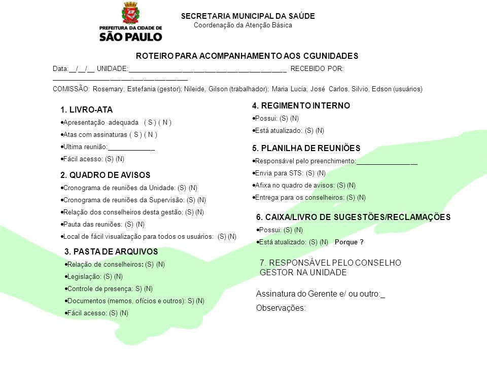 Encontro Municipal de Conselhos Jan/201016 SECRETARIA MUNICIPAL DA SAÚDE Coordenação da Atenção Básica ROTEIRO PARA ACOMPANHAMENTO AOS CGUNIDADES Data