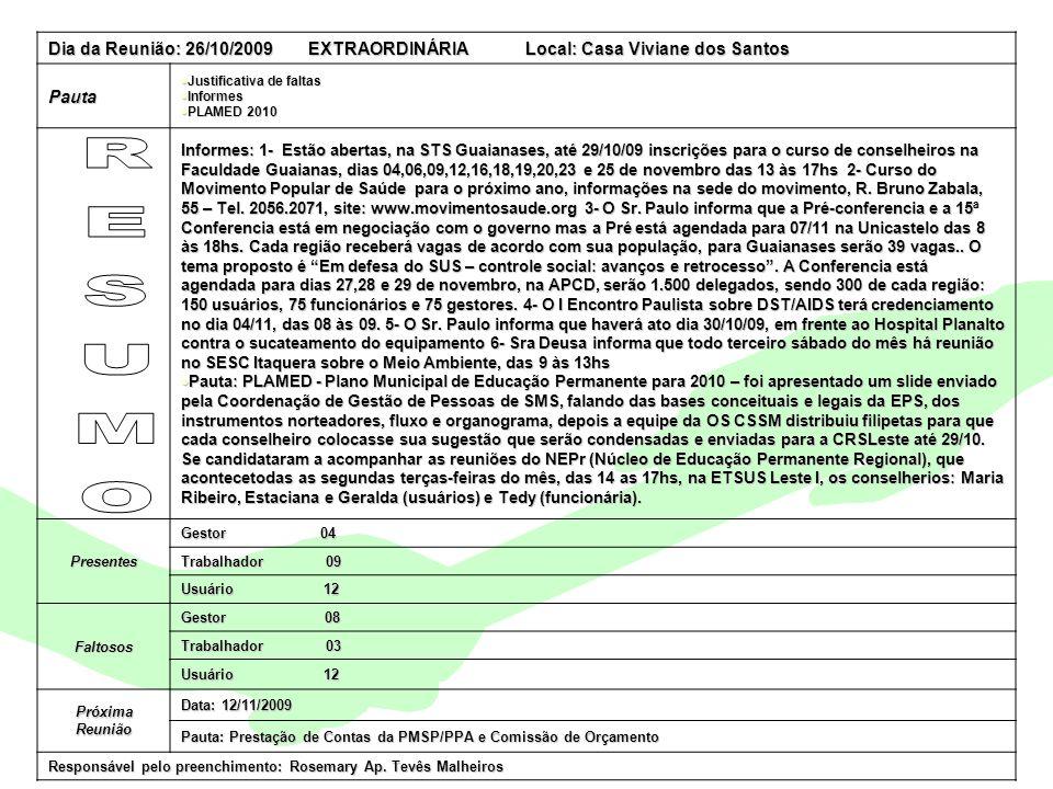 Encontro Municipal de Conselhos Jan/201019 Dia da Reunião: 26/10/2009 EXTRAORDINÁRIA Local: Casa Viviane dos Santos Pauta Justificativa de faltas Just