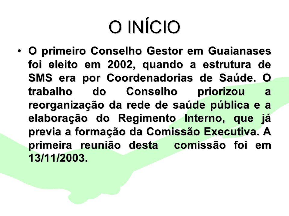 Encontro Municipal de Conselhos Jan/20102 O INÍCIO O primeiro Conselho Gestor em Guaianases foi eleito em 2002, quando a estrutura de SMS era por Coor