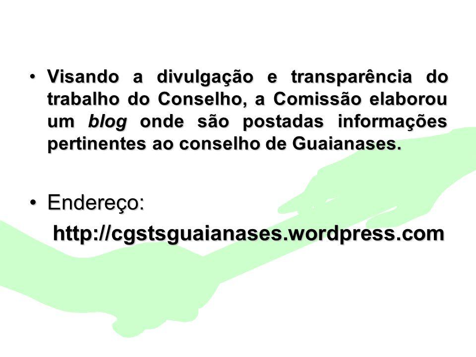 Encontro Municipal de Conselhos Jan/201024 Visando a divulgação e transparência do trabalho do Conselho, a Comissão elaborou um blog onde são postadas