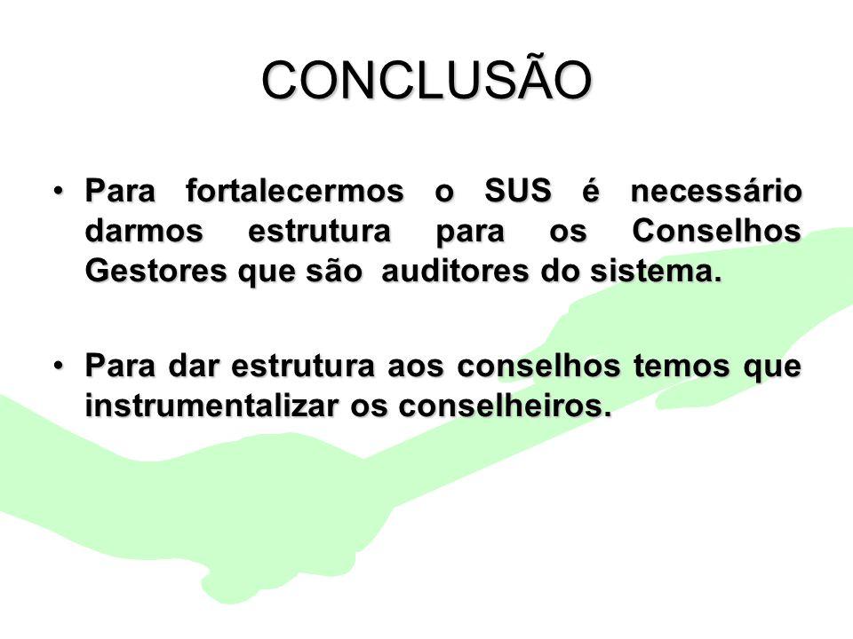 Encontro Municipal de Conselhos Jan/201028 CONCLUSÃO Para fortalecermos o SUS é necessário darmos estrutura para os Conselhos Gestores que são auditor