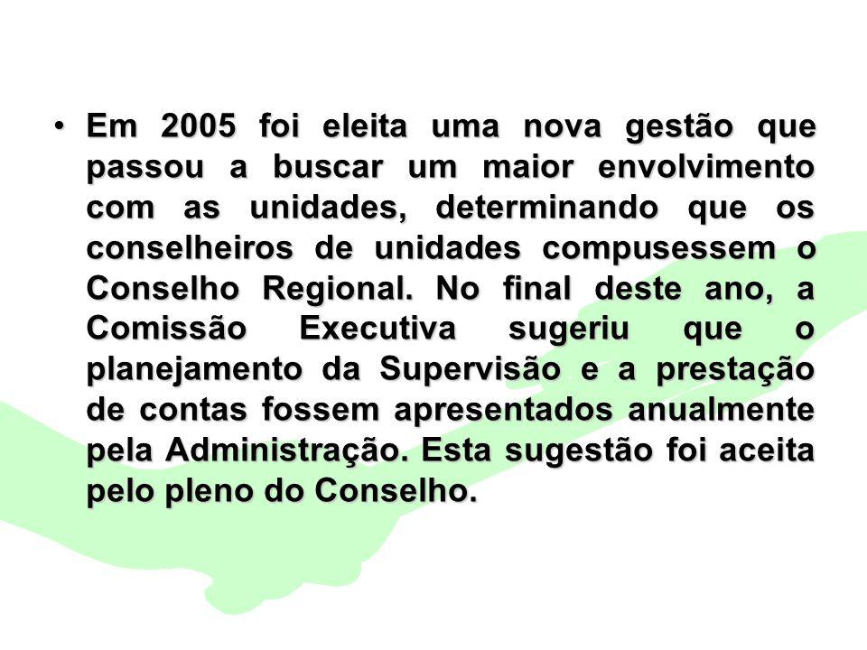 Encontro Municipal de Conselhos Jan/20103 Em 2005 foi eleita uma nova gestão que passou a buscar um maior envolvimento com as unidades, determinando q
