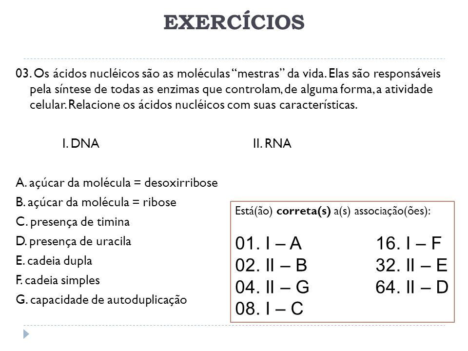 EXERCÍCIOS 03. Os ácidos nucléicos são as moléculas mestras da vida. Elas são responsáveis pela síntese de todas as enzimas que controlam, de alguma f