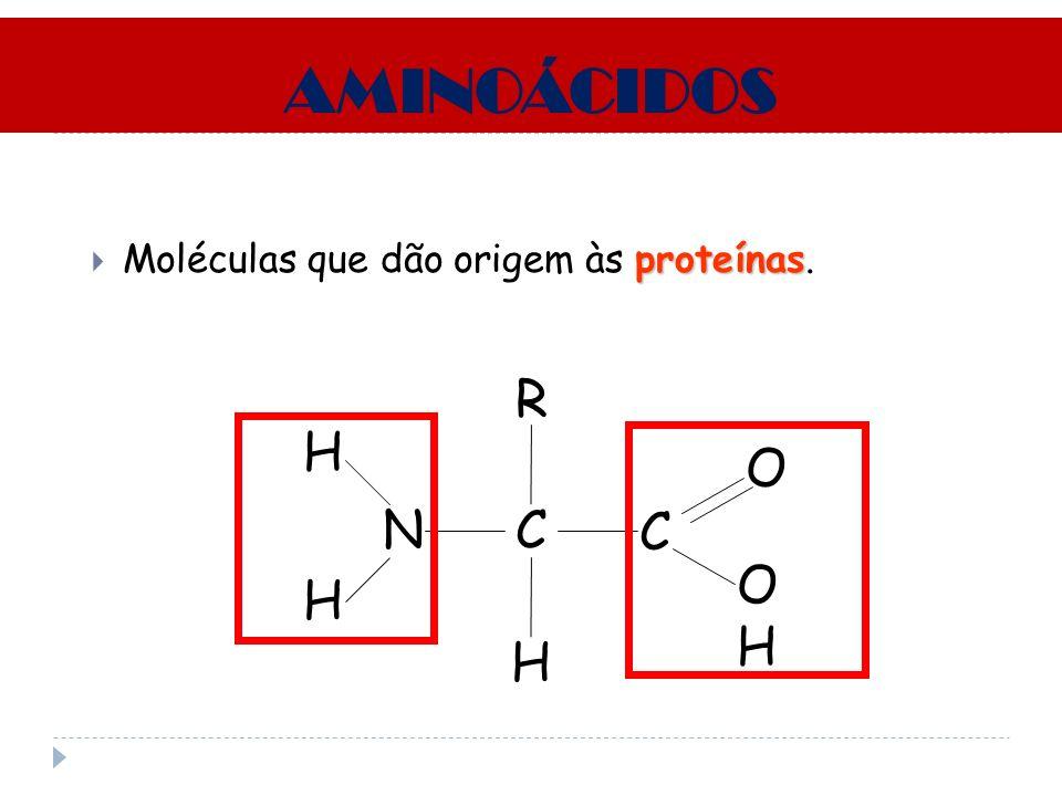 AMINOÁCIDOS proteínas Moléculas que dão origem às proteínas. CN H R C OHOH O H H