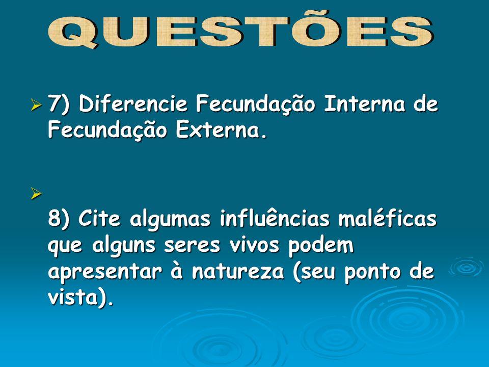 7) Diferencie Fecundação Interna de Fecundação Externa. 7) Diferencie Fecundação Interna de Fecundação Externa. 8) Cite algumas influências maléficas