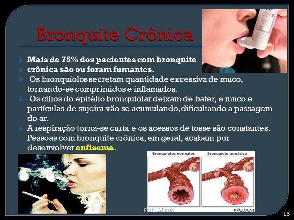 Mais de 75% dos pacientes com bronquite crônica são ou foram fumantes. Os bronquíolos secretam quantidade excessiva de muco, tornando-se comprimidos e