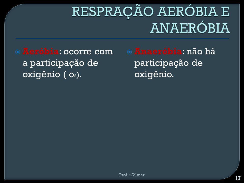 Aeróbia: ocorre com a participação de oxigênio ( o 2 ). Anaeróbia: não há participação de oxigênio. Prof.: Gilmar 17