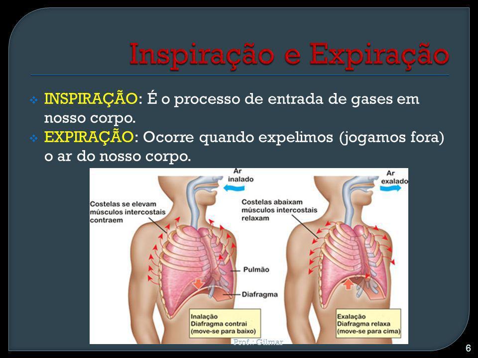 INSPIRAÇÃO: É o processo de entrada de gases em nosso corpo. EXPIRAÇÃO: Ocorre quando expelimos (jogamos fora) o ar do nosso corpo. 6 Prof.: Gilmar