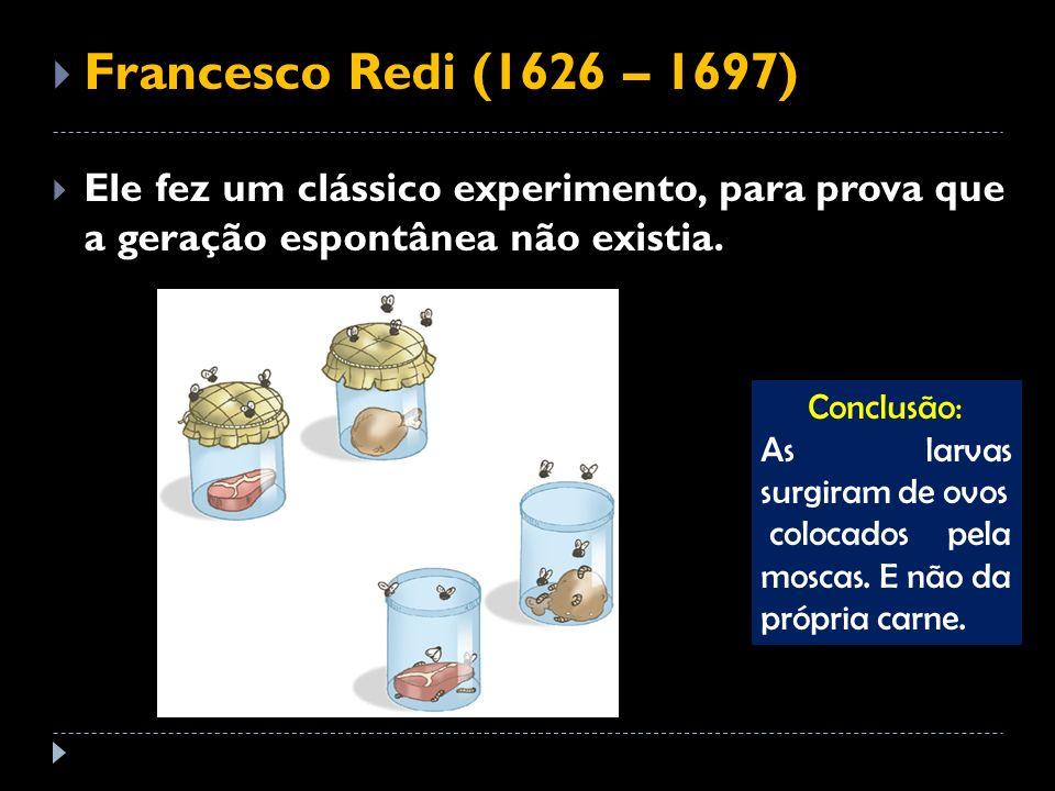 Francesco Redi (1626 – 1697) Ele fez um clássico experimento, para prova que a geração espontânea não existia. Conclusão: As larvas surgiram de ovos c
