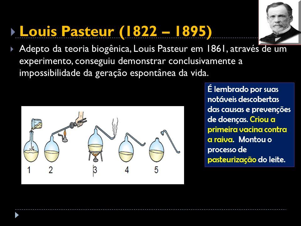 Louis Pasteur (1822 – 1895) Adepto da teoria biogênica, Louis Pasteur em 1861, através de um experimento, conseguiu demonstrar conclusivamente a impos