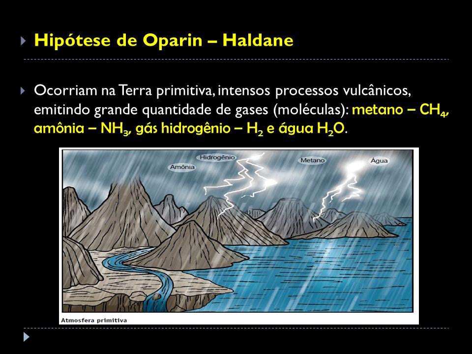 Hipótese de Oparin – Haldane Ocorriam na Terra primitiva, intensos processos vulcânicos, emitindo grande quantidade de gases (moléculas): metano – CH