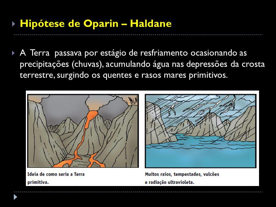 Hipótese de Oparin – Haldane A Terra passava por estágio de resfriamento ocasionando as precipitações (chuvas), acumulando água nas depressões da cros