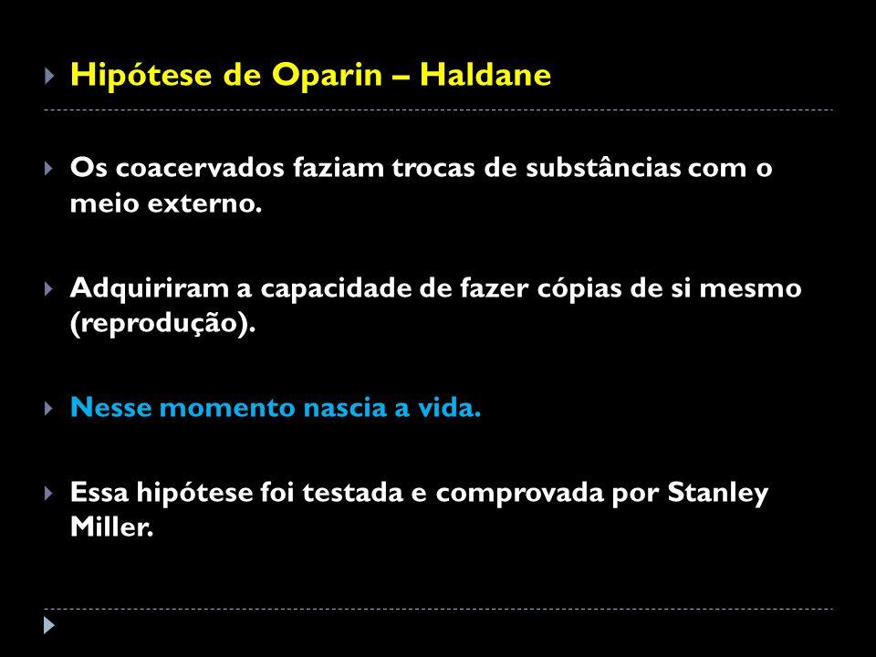 Hipótese de Oparin – Haldane Os coacervados faziam trocas de substâncias com o meio externo. Adquiriram a capacidade de fazer cópias de si mesmo (repr