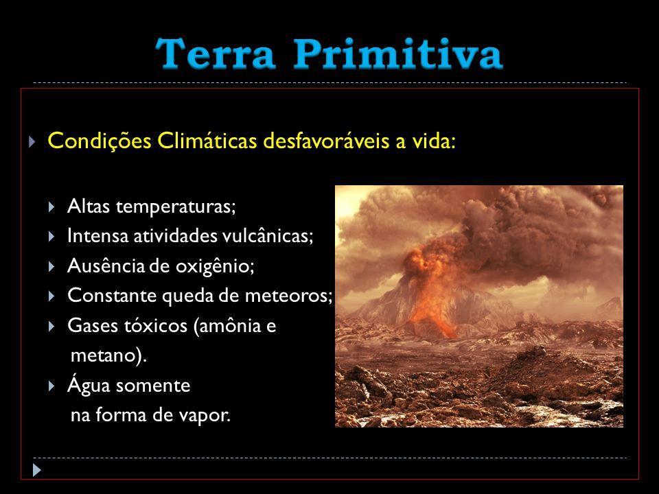 Condições Climáticas desfavoráveis a vida: Altas temperaturas; Intensa atividades vulcânicas; Ausência de oxigênio; Constante queda de meteoros; Gases