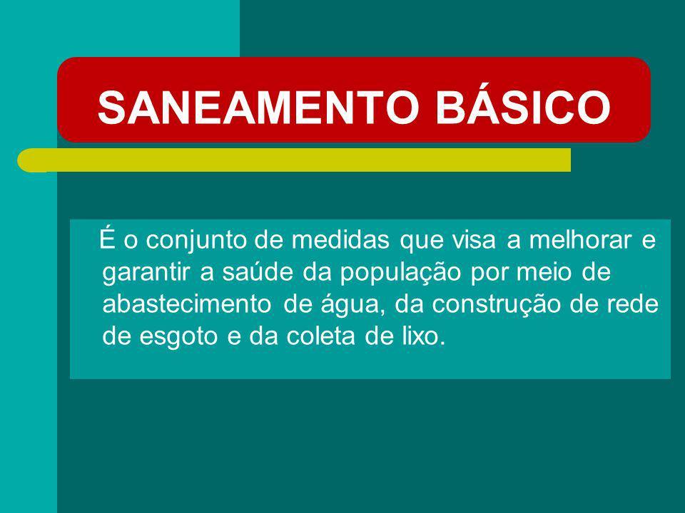 SANEAMENTO BÁSICO É o conjunto de medidas que visa a melhorar e garantir a saúde da população por meio de abastecimento de água, da construção de rede