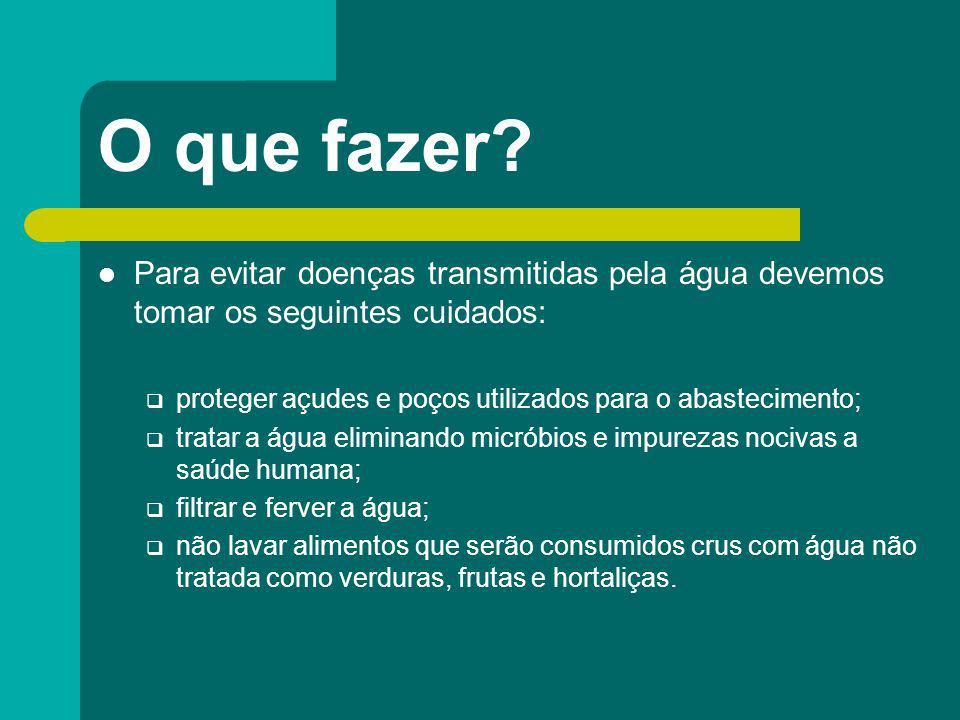 O que fazer? Para evitar doenças transmitidas pela água devemos tomar os seguintes cuidados: proteger açudes e poços utilizados para o abastecimento;