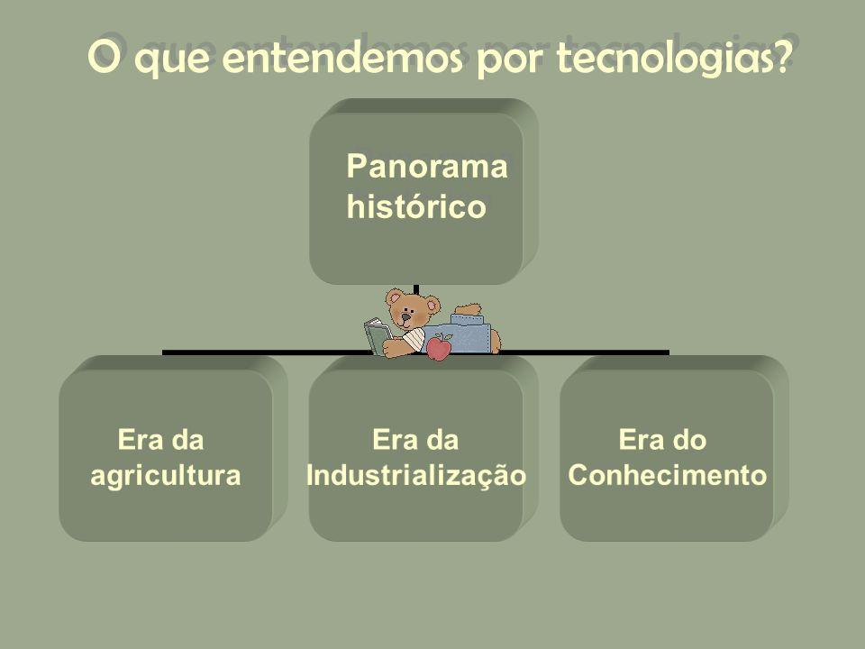 O que entendemos por tecnologias? Era da agricultura Era da Industrialização Era do Conhecimento Panorama histórico