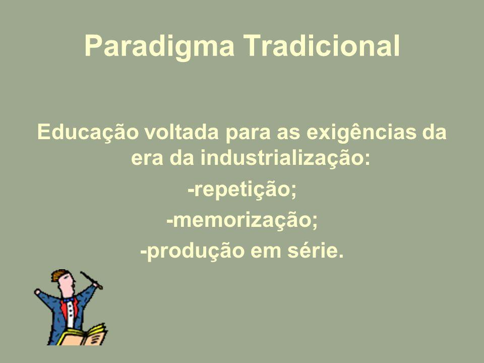 Paradigma Tradicional Educação voltada para as exigências da era da industrialização: -repetição; -memorização; -produção em série.