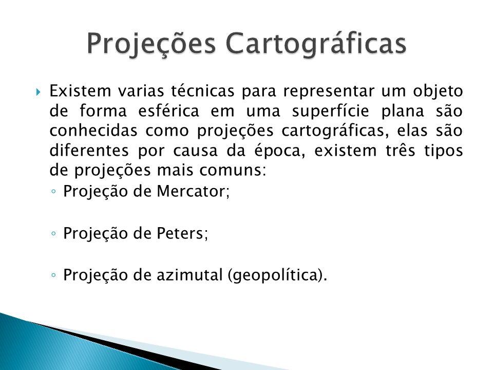 Existem varias técnicas para representar um objeto de forma esférica em uma superfície plana são conhecidas como projeções cartográficas, elas são dif