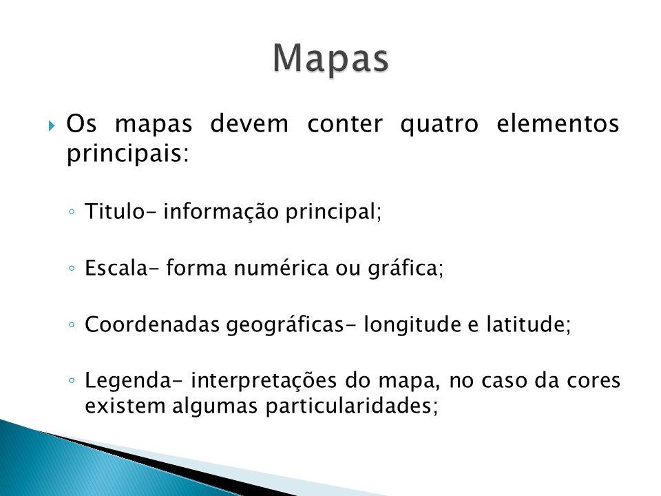 Os mapas devem conter quatro elementos principais: Titulo- informação principal; Escala- forma numérica ou gráfica; Coordenadas geográficas- longitude
