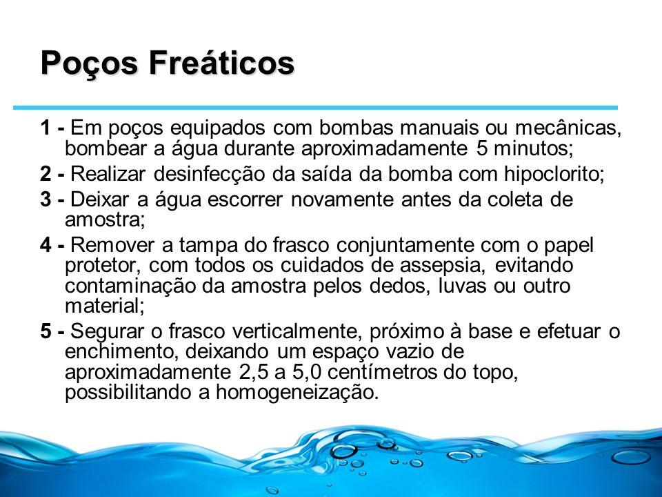 Poços Freáticos 1 - Em poços equipados com bombas manuais ou mecânicas, bombear a água durante aproximadamente 5 minutos; 2 - Realizar desinfecção da