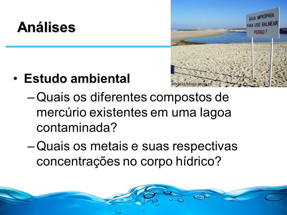 Análises Estudo ambiental –Quais os diferentes compostos de mercúrio existentes em uma lagoa contaminada? –Quais os metais e suas respectivas concentr