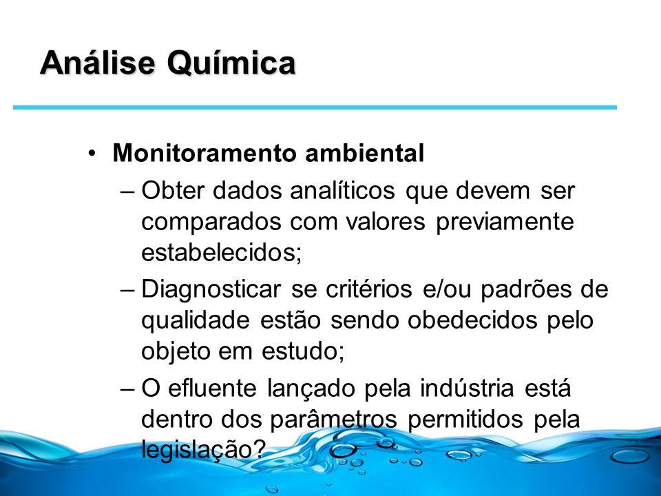Análise Química Monitoramento ambiental –Obter dados analíticos que devem ser comparados com valores previamente estabelecidos; –Diagnosticar se crité