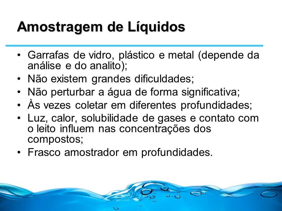Amostragem de Líquidos Garrafas de vidro, plástico e metal (depende da análise e do analito); Não existem grandes dificuldades; Não perturbar a água d