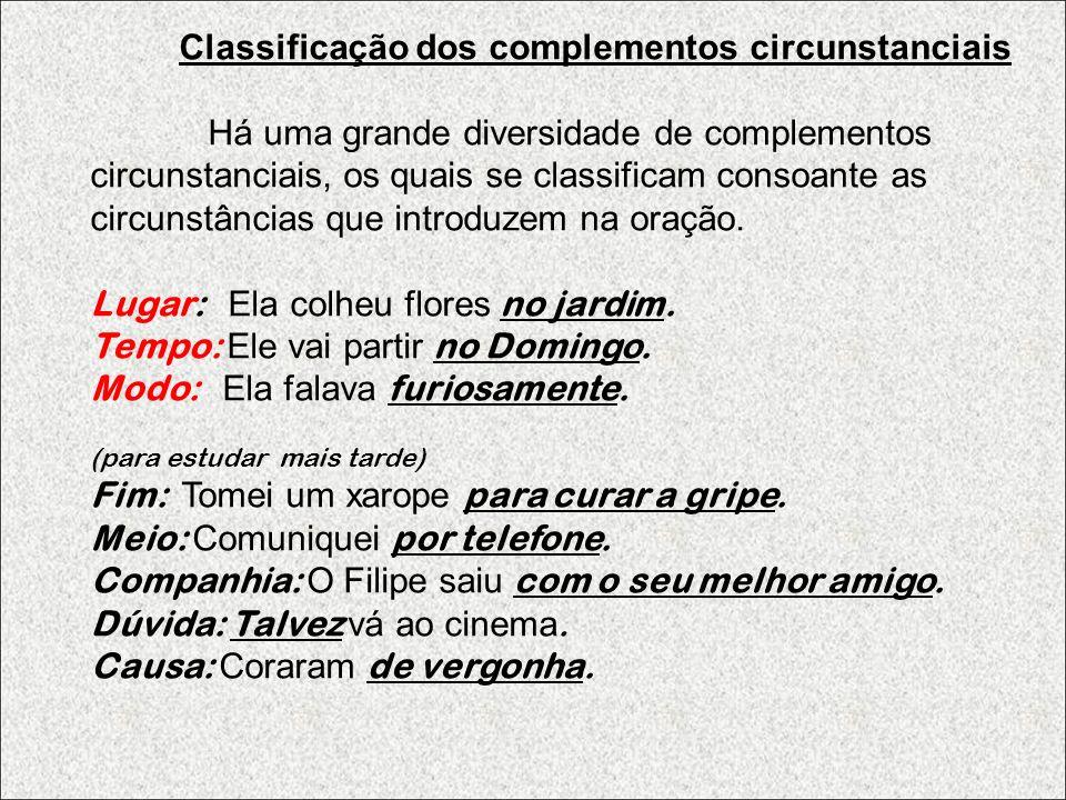 Classificação dos complementos circunstanciais Há uma grande diversidade de complementos circunstanciais, os quais se classificam consoante as circunstâncias que introduzem na oração.