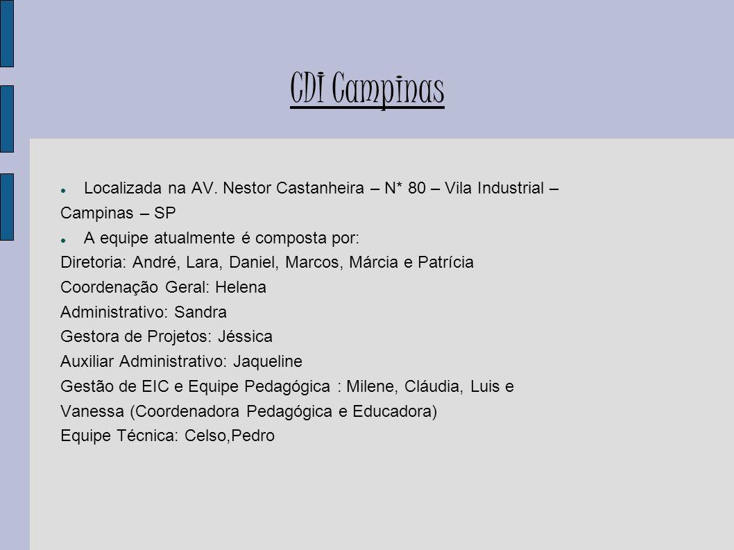 CDI Campinas CDI Campinas foi fundado em 2000 e vem promovendo a inclusão digital nas EIC s (Escolas de Informática para Cidadania); CDI é uma rede Internacionalmente conhecida e reconhecida,já ganhou inúmeros prêmios de grupos como ONU,Unesco e BDI; Parcerias CDI Campinas: Dell, Exxon, Cosan, Ambient Standard (entre outras); O CDI Campinas atualmente mantém parcerias com 30 instituições sendo elas em Campinas e outras na região como em: Paulínia, Hortolândia, São João da Boa Vista, Jundiaí...