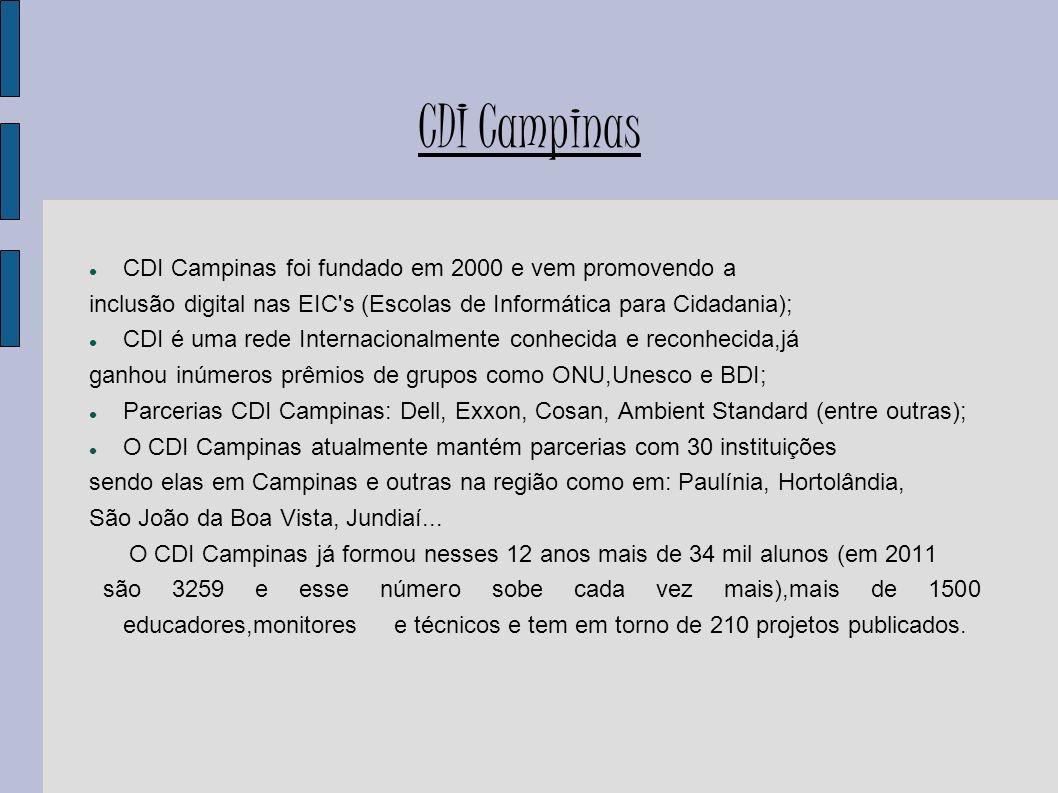CDI Campinas CDI Campinas foi fundado em 2000 e vem promovendo a inclusão digital nas EIC's (Escolas de Informática para Cidadania); CDI é uma rede In