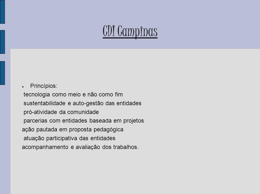 CDI Campinas Princípios: tecnologia como meio e não como fim sustentabilidade e auto-gestão das entidades pró-atividade da comunidade parcerias com en