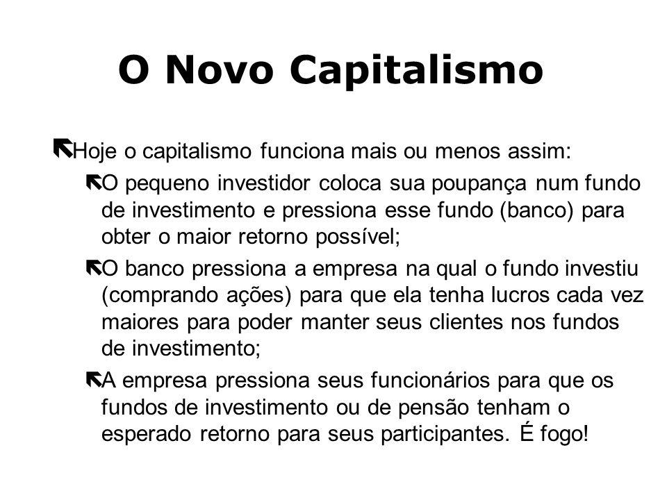 O Novo Capitalismo ëVem surgindo um novo capitalismo. Não é mais o capitalismo do dono da empresa. As empresas não têm mais dono. ëHoje, os donos das