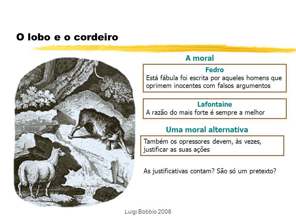 Luigi Bobbio 2006 O lobo e o cordeiro Fedro Está fábula foi escrita por aqueles homens que oprimem inocentes com falsos argumentos Lafontaine A razão