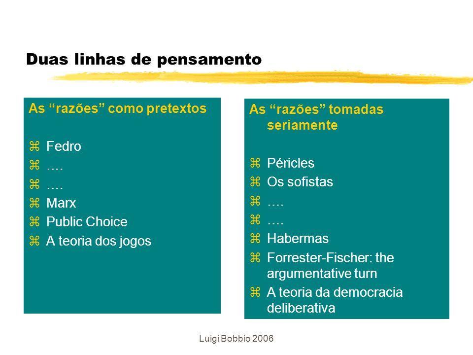 Luigi Bobbio 2006 A democracia deliberativa É una situação ideal na qual as decisões públicas são adotadas mediante a discussão entre todos os cidadãos interessados.