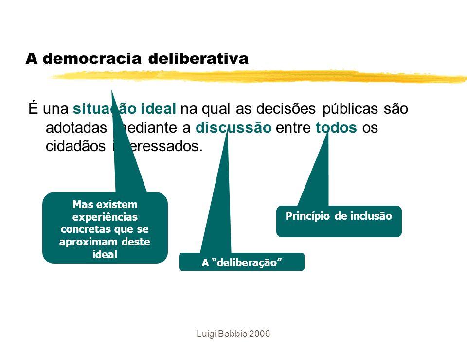 Luigi Bobbio 2006 A democracia deliberativa É una situação ideal na qual as decisões públicas são adotadas mediante a discussão entre todos os cidadão