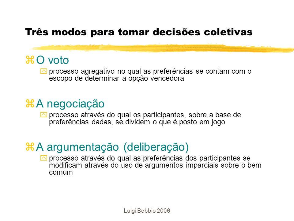 Luigi Bobbio 2006 zO voto yprocesso agregativo no qual as preferências se contam com o escopo de determinar a opção vencedora zA negociação yprocesso