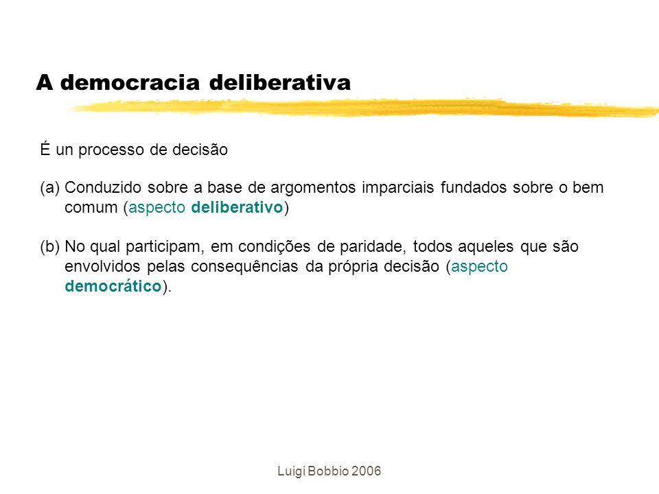 Luigi Bobbio 2006 A democracia deliberativa É un processo de decisão (a) Conduzido sobre a base de argomentos imparciais fundados sobre o bem comum (a