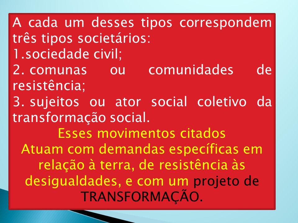 A cada um desses tipos correspondem três tipos societários: 1.sociedade civil; 2. comunas ou comunidades de resistência; 3. sujeitos ou ator social co