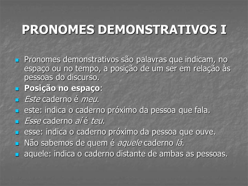 PRONOMES DEMONSTRATIVOS I Pronomes demonstrativos são palavras que indicam, no espaço ou no tempo, a posição de um ser em relação às pessoas do discur