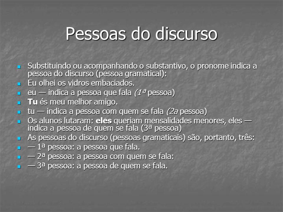 CLASSIFICAÇÃO DO PRONOME PRONOMES PESSOAIS PRONOMES PESSOAIS Os pronomes pessoais substituem os substantivos, indicando as pessoas do discurso.