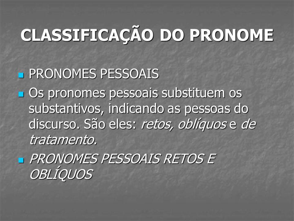 CLASSIFICAÇÃO DO PRONOME PRONOMES PESSOAIS PRONOMES PESSOAIS Os pronomes pessoais substituem os substantivos, indicando as pessoas do discurso. São el