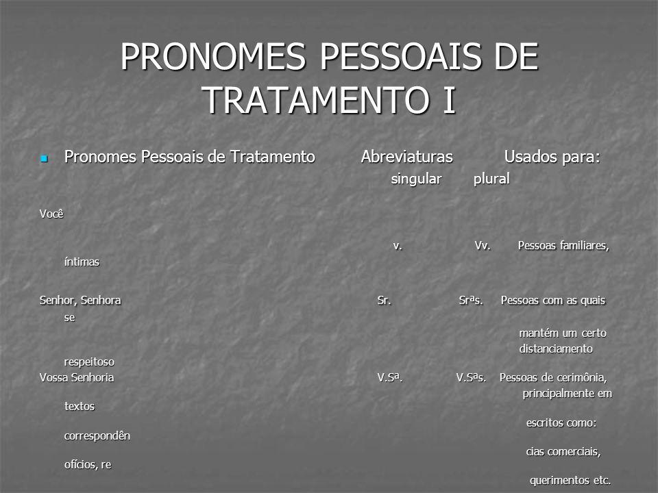 PRONOMES PESSOAIS DE TRATAMENTO II Pronomes Pessoais de Tratamento Abreviaturas Usados para: Pronomes Pessoais de Tratamento Abreviaturas Usados para: singular plural singular plural Vossa Excelência V.Exª.