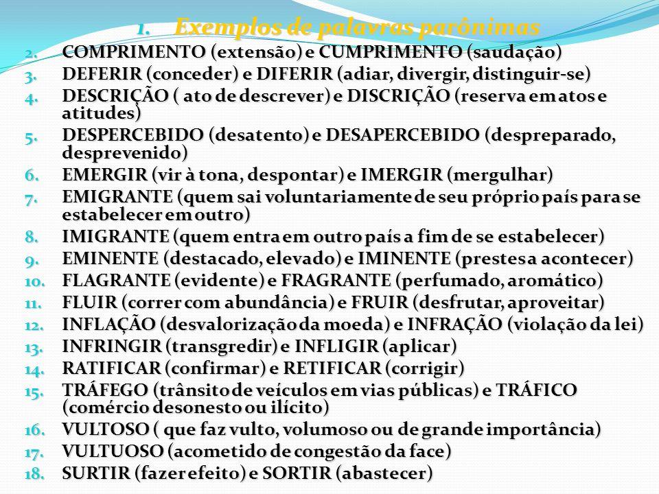 1. Exemplos de palavras parônimas 2. COMPRIMENTO (extensão) e CUMPRIMENTO (saudação) 3. DEFERIR (conceder) e DIFERIR (adiar, divergir, distinguir-se)