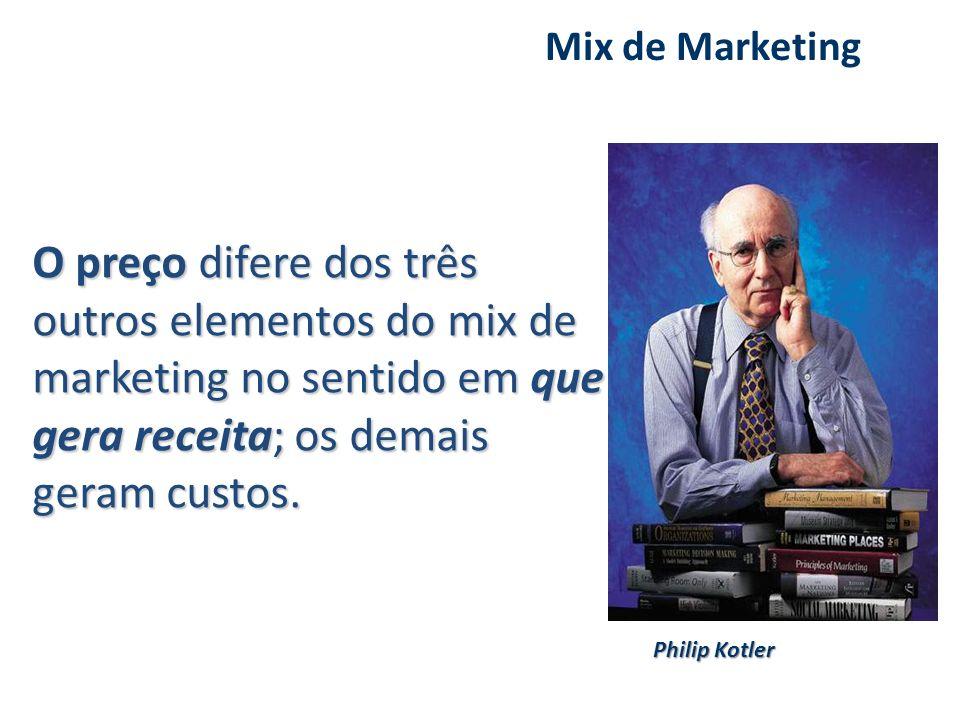 O preço difere dos três outros elementos do mix de marketing no sentido em que gera receita; os demais geram custos. O preço difere dos três outros el